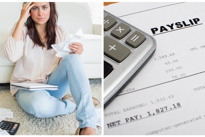 Woman looks confused and checks receipts. Calculator and payslip.