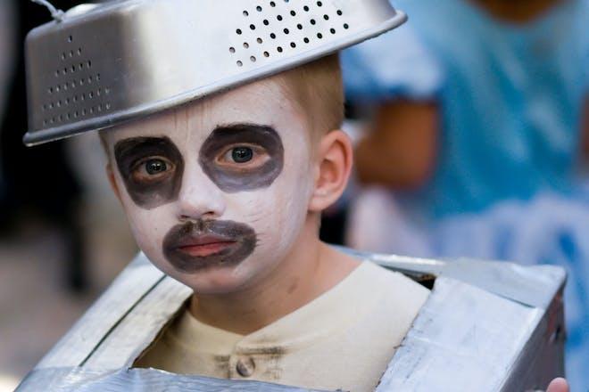Little boy dressed as the Tin man