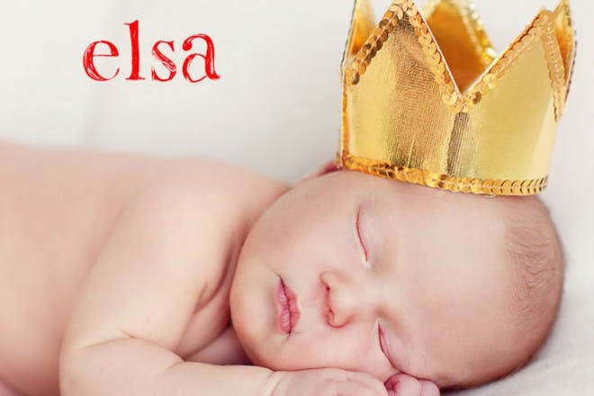 sleeping baby with gold crown