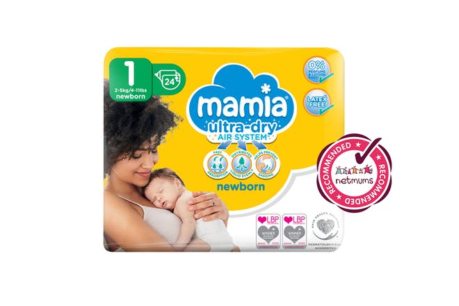 Free pack of Aldi Mamia newborn nappies with Netmums recommends logo