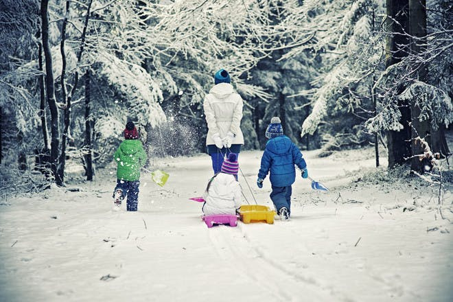 family walking in snow cover woods