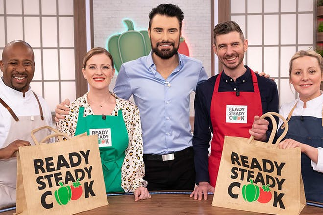 Rylan Clark-Neal and contestants on set of Ready Steady Cook