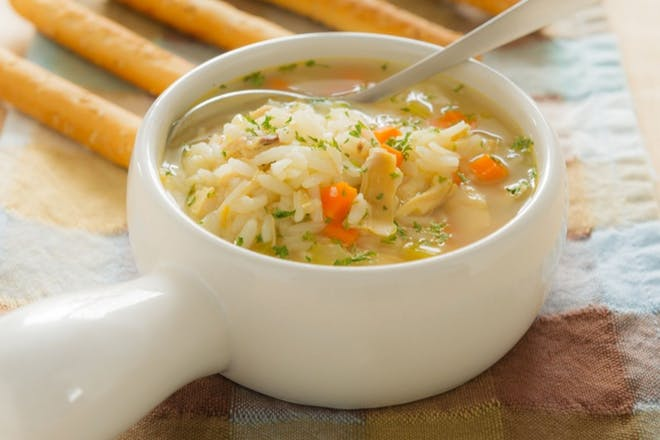 Chicken, rice and veg soup