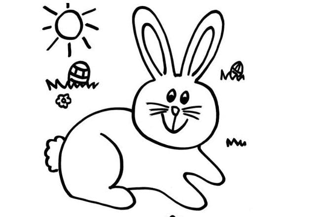 Bunny Easter colouring picture
