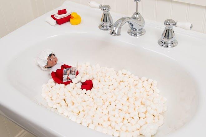 57. Elf in a marshmallow bath