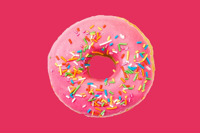Doughnut with pink icing
