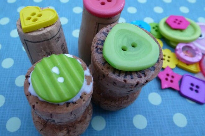 colourful buttons on corks