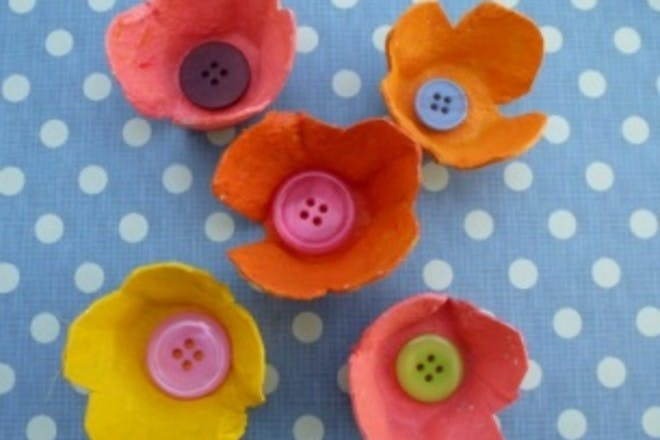 Egg box flowers with buttons