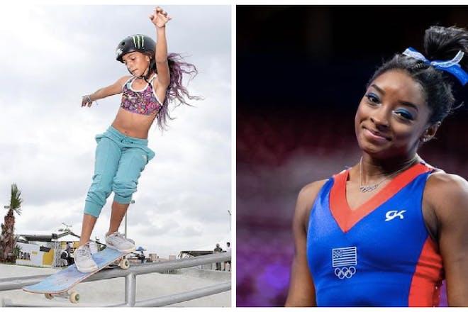 Rayssa Leal skateboarding / Simone Biles at the Olympics
