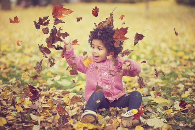 toddler playing in brown autumn leaves