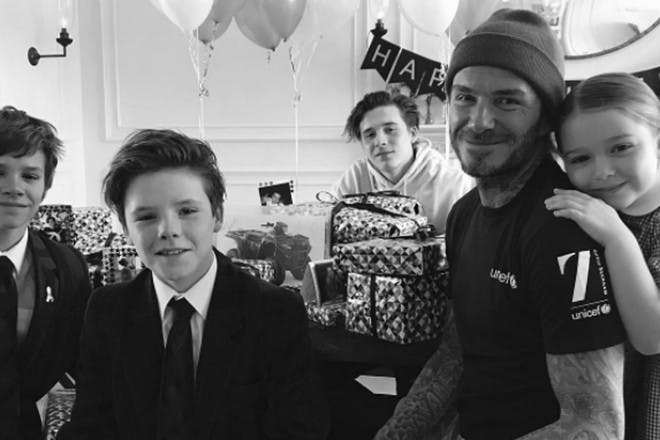 David Beckham with kids on birthday