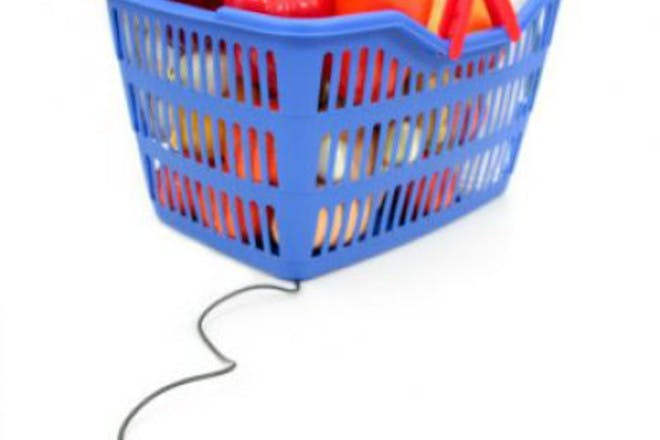 basket of groceries and computer mouse