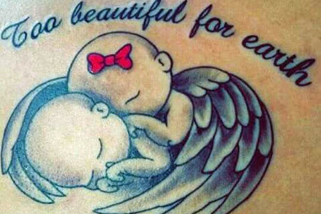 Twins miscarriage tattoo reading Too beautiful for earth