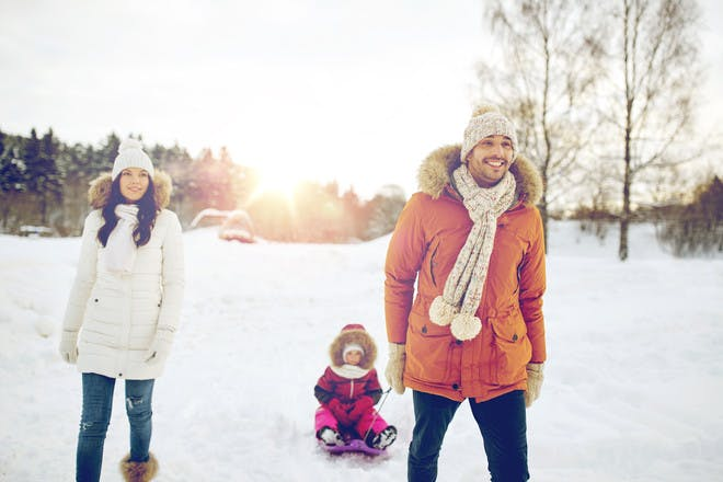 A family going sledging