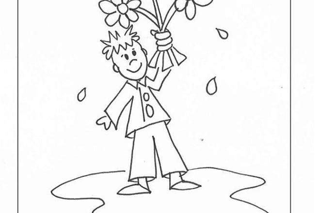 Man with flowers Valentine's card