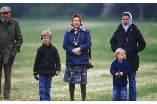 The Queen, Princess Anne, Zara and Peter Phillips