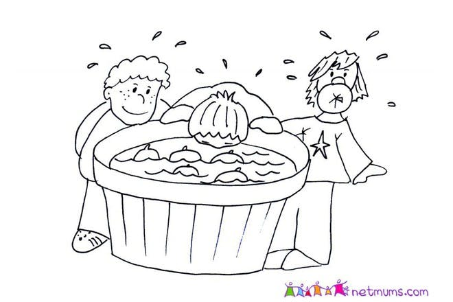 Halloween colouring page of people bobbing for apples