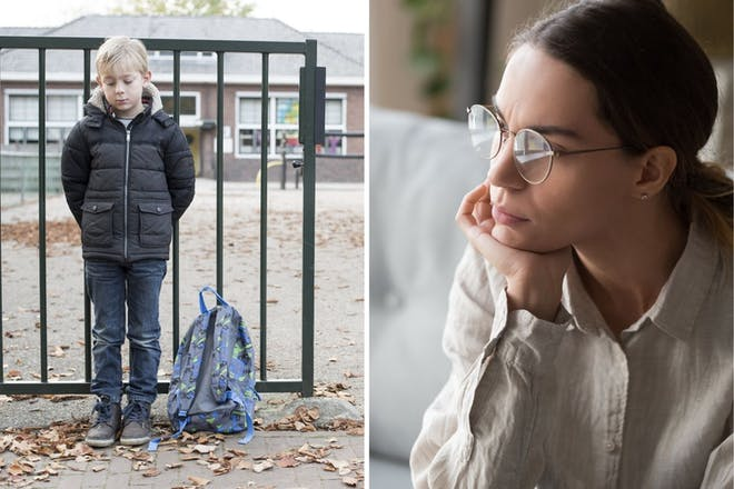Left: Child outside schoolRight: Woman in glasses