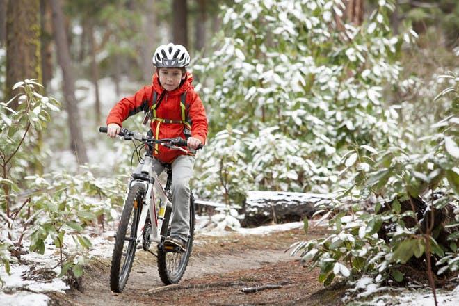 little boy on bike riding through woods