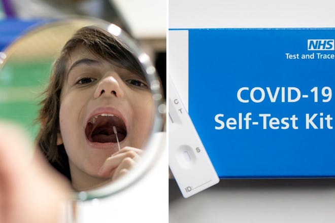 Left: School boy takes coronavirus test. Right: Covid-19 test