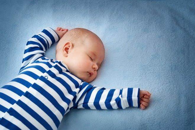 Baby boy wearing blue stripes