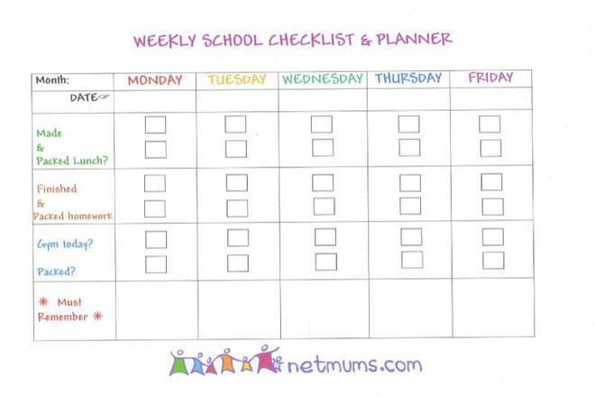 weekly school checklist and planner