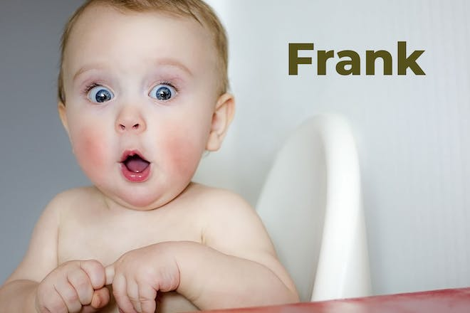 Surprised looking baby next to name Frank in text