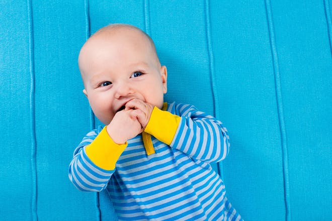 baby on blue background