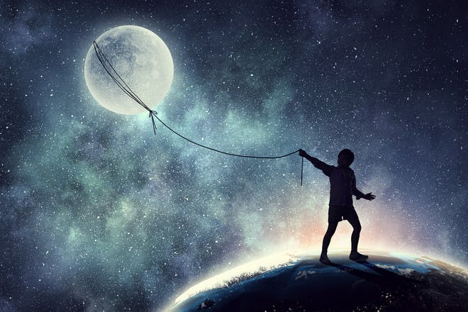 Person lassoing the moon