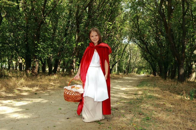 Girl dressed as Little Red Riding Hood