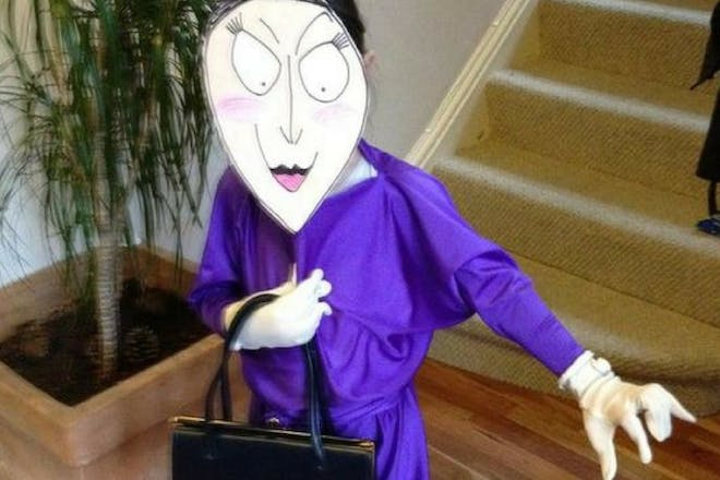 Girl dressed as Roald Dahl's Grand High Witch from The Witches