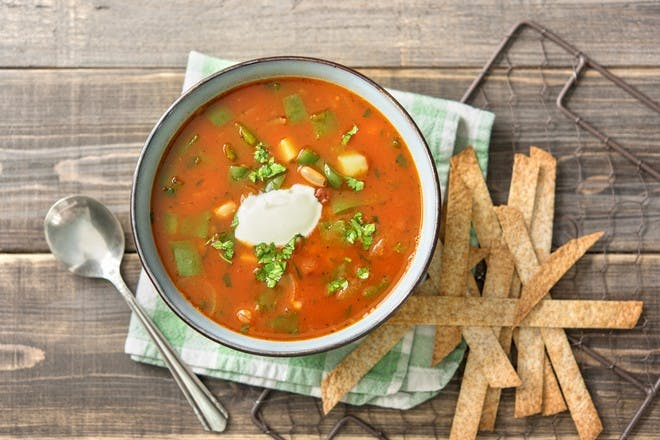 Mexican soup recipe with beans, peppers and oven-baked tortilla strips