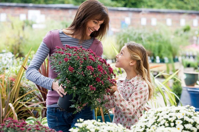 Mum and daughter at garden centre