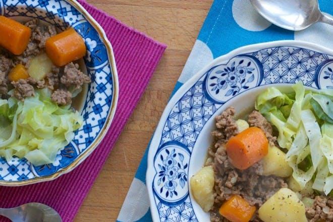 Irish stew on two plates