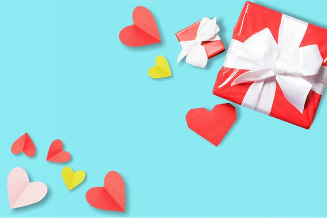Valentine's present and hearts