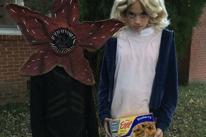Kids dressed as a Demagorgon, and Eleven from Stranger Things