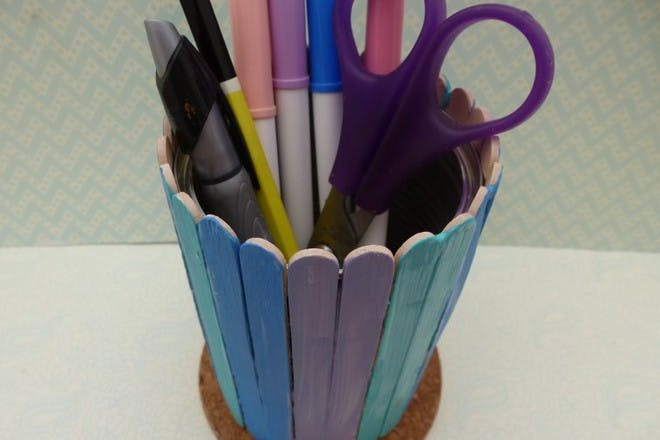 colourful pen pot with stationary inside