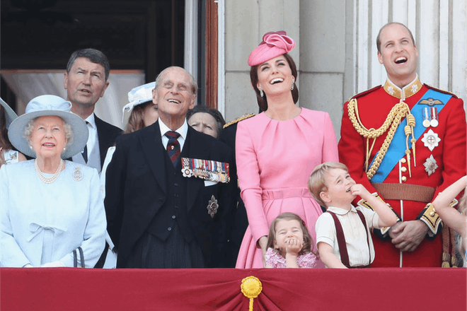 Prince Philip with George and Charlotte