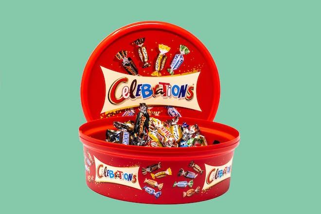 Tub of Celebrations chocolates