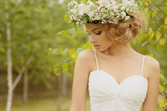 1. Floral crown updo