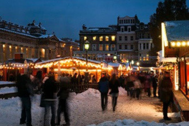 people at christmas market