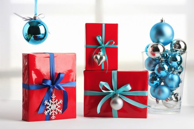 red and blue wrapping