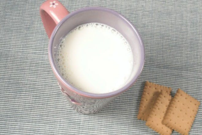 cup of milk and biscuits