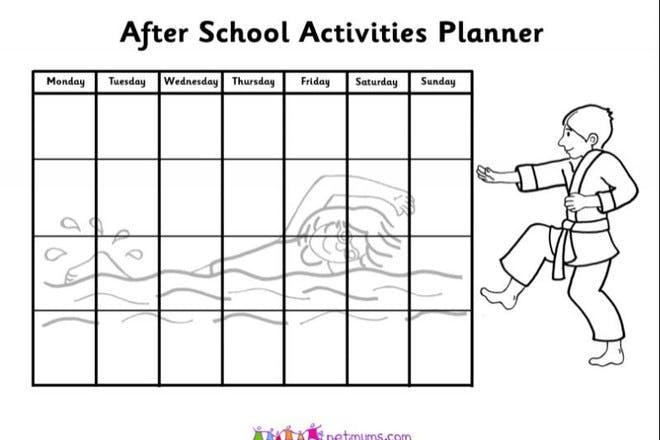 after school activities planner