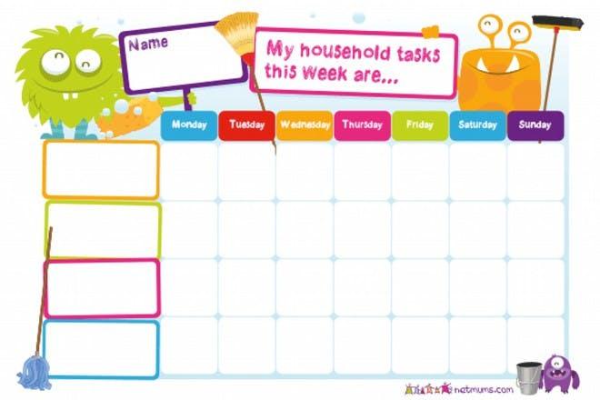 household tasks monsters reward chart