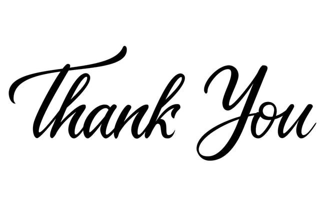 Words thank you written in black on white background