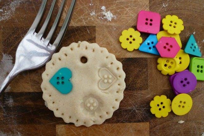 salt dough decoration with colourful buttons