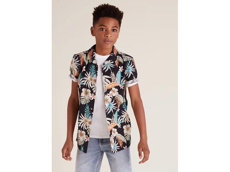 Cotton Floral Shirt & T-Shirt Set