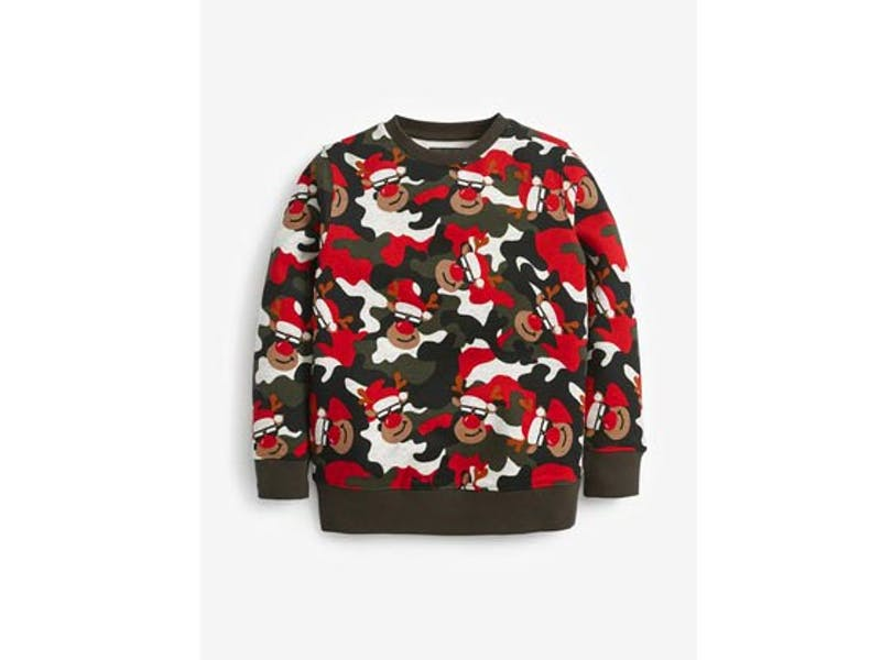 Red Reindeer All Over Print Crew Jumper