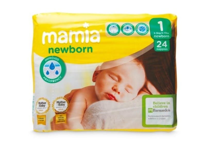 5. Mamia Newborn Nappies (24 pack), £0.79